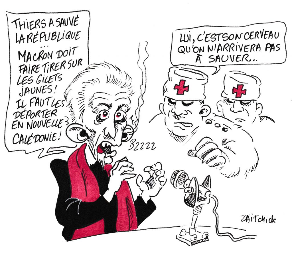 bande dessinée de Zaïtchick sur Christophe Barbier prononçant un éloge d'Adolphe Thiers