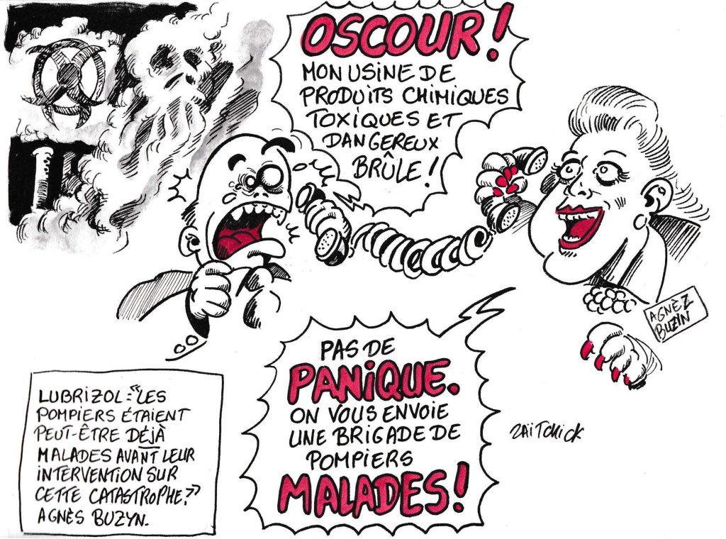 dessin de Zaïtchick sur Agnès Buzyn qui envoie des pompiers malades éteindre les incendies d'usines chimiques comme Lubrizol à Rouen.
