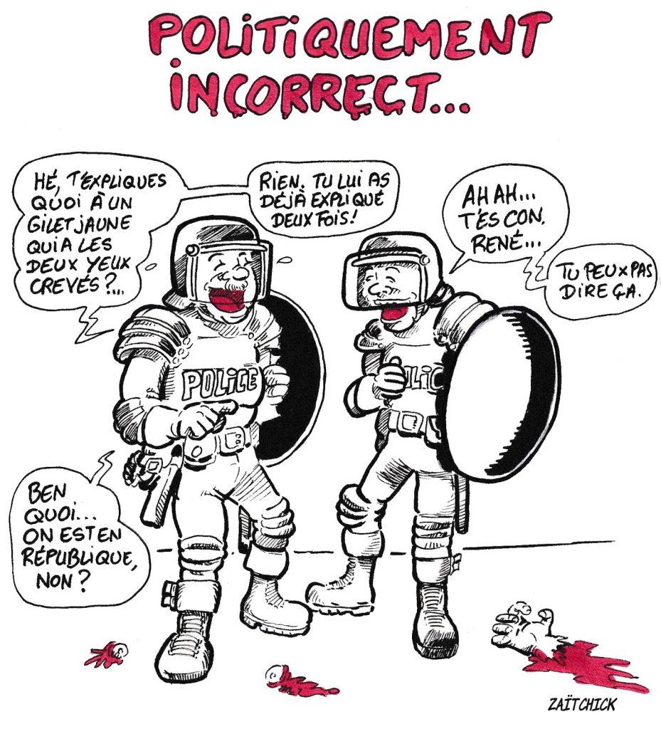 bande dessinée de Zaïtchick sur René le CRS qui plaisante sur les violences policières