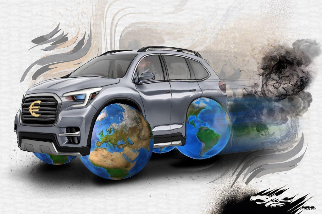 dessin d'actualité humoristique de Jerc sur les SUV et leur pollution