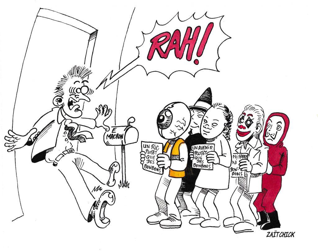 dessin de Zaïtchick sur Macron effrayé par les masques d'Halloween