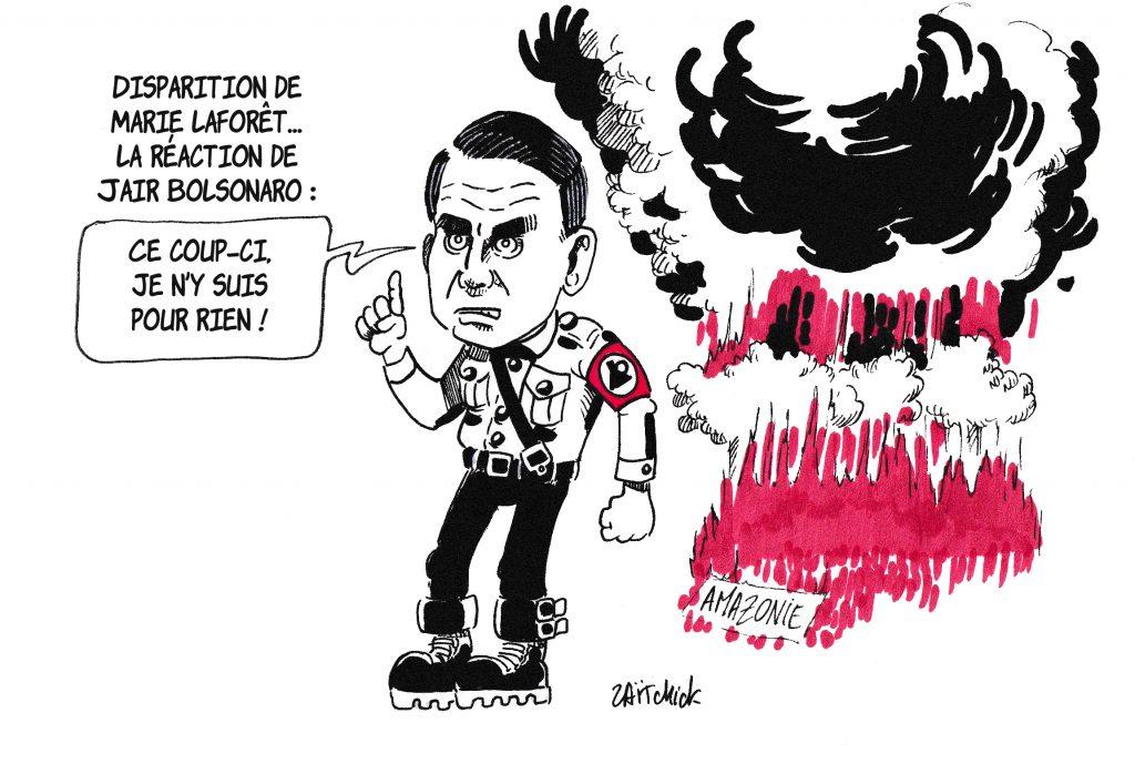 dessin de Zaïtchick sur Jair Bolsonaro commentant la disparition de Marie Laforêt