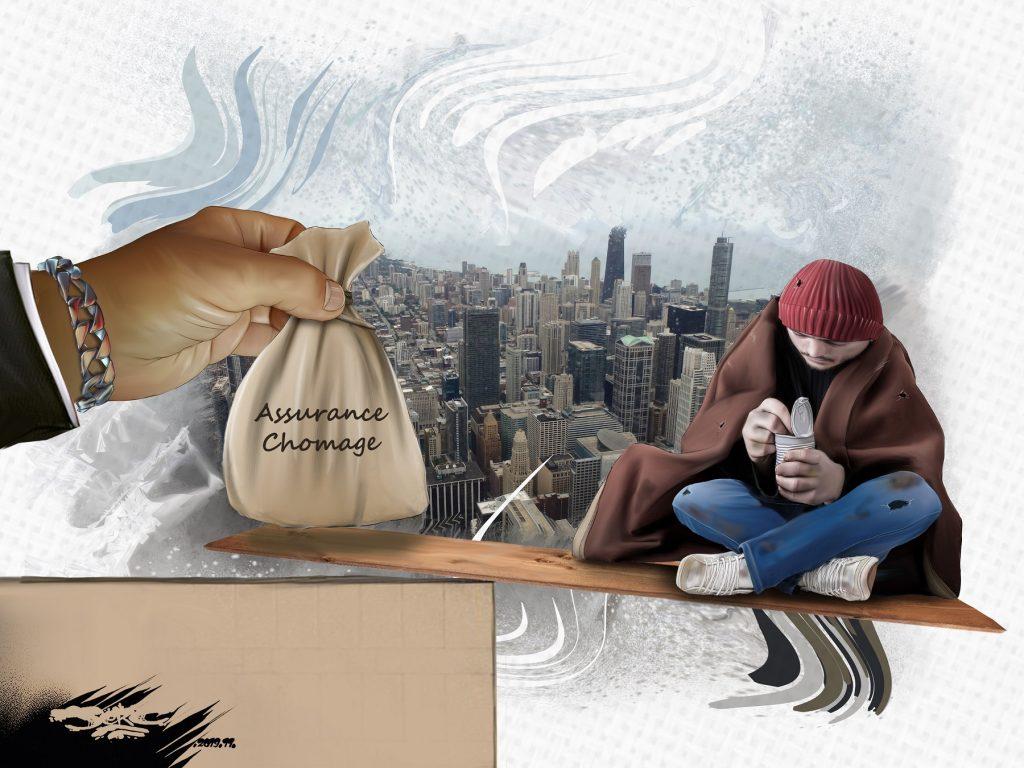 dessin d'actualité humoristique de Jerc sur la réforme de l'assurance-chômage