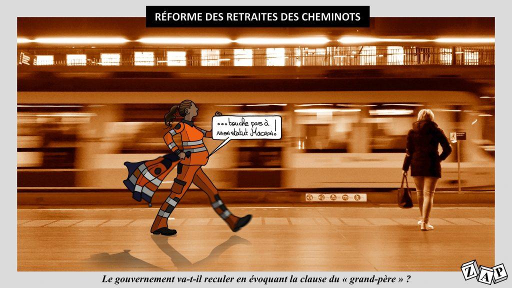 dessin d'actualité de Zap sur la réforme des retraites des cheminots