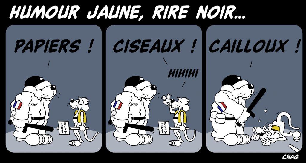 dessin d'humour de Chag sur le mouvement des gilets jaunes et les violences policières