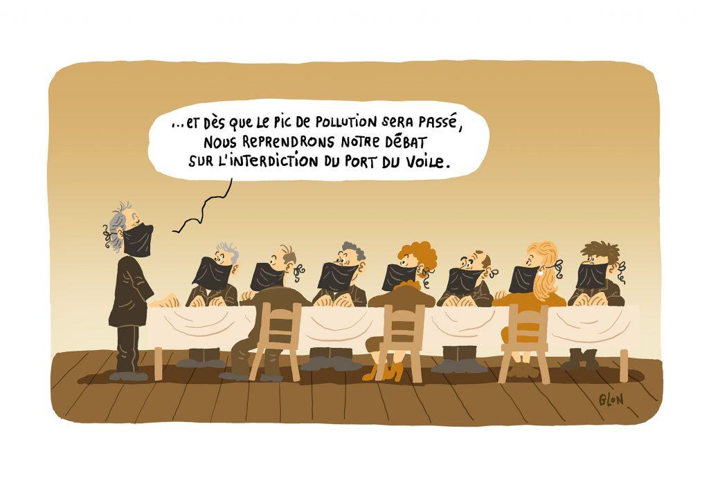 dessin humoristique de Glon sur les débats sur l'interdiction du port du voile