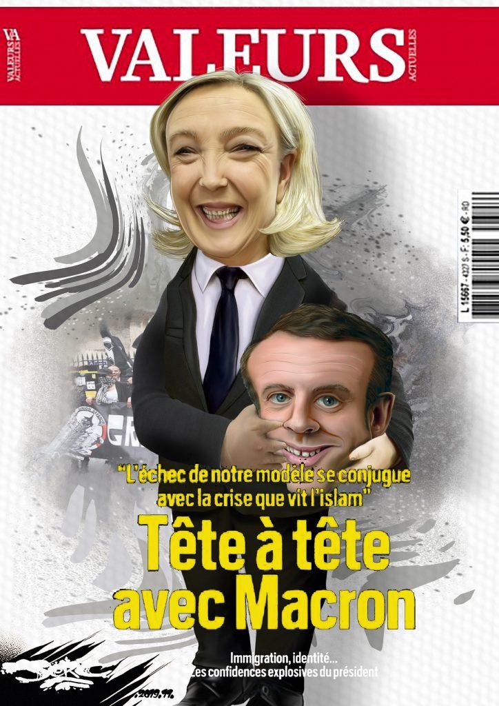 dessin d'actualité humoristique de Jerc sur Emmanuel Macron à la une de Valeurs Actuelles