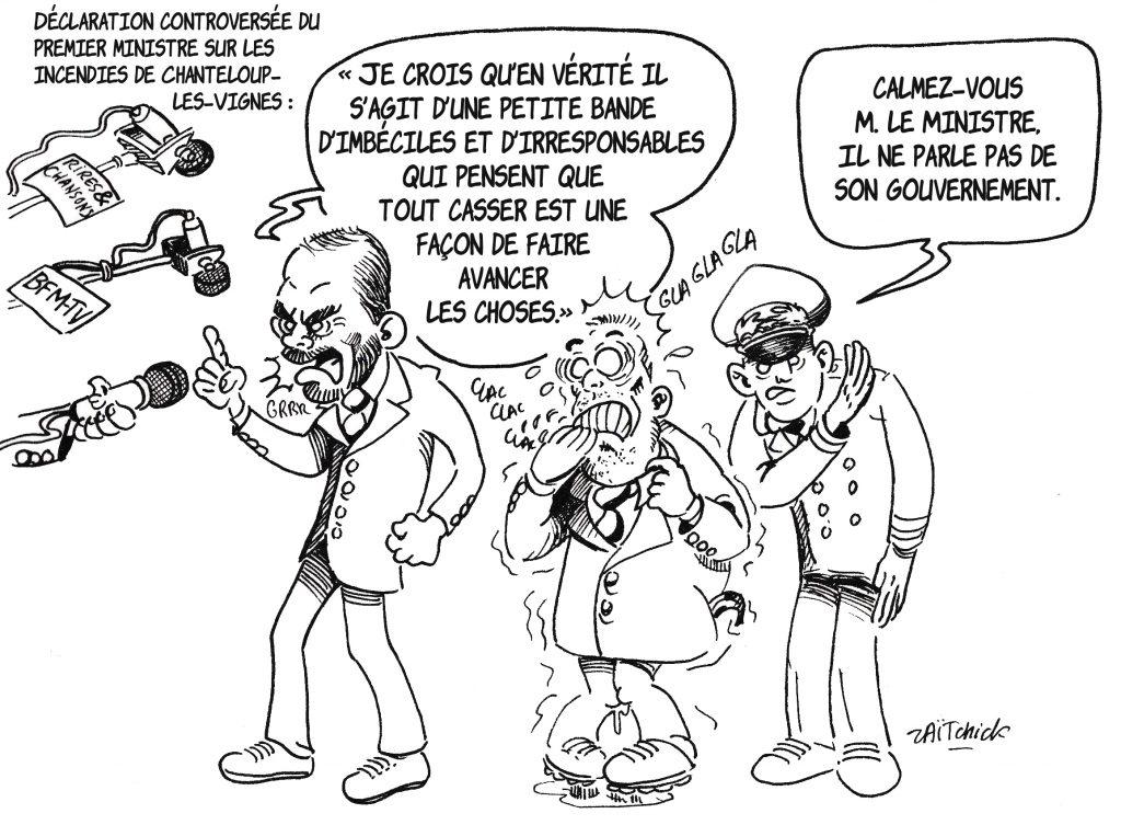 dessin de Zaïtchick sur Édouard Philippe qui fustige les imbéciles et les irresponsables de Chanteloup-Les-Vignes