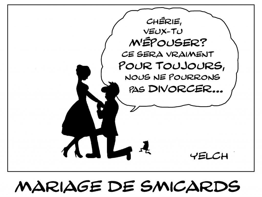 dessin de Yelch sur les réflexions choquante de Julie Graziani à une divorcée au Smic mère de deux enfants
