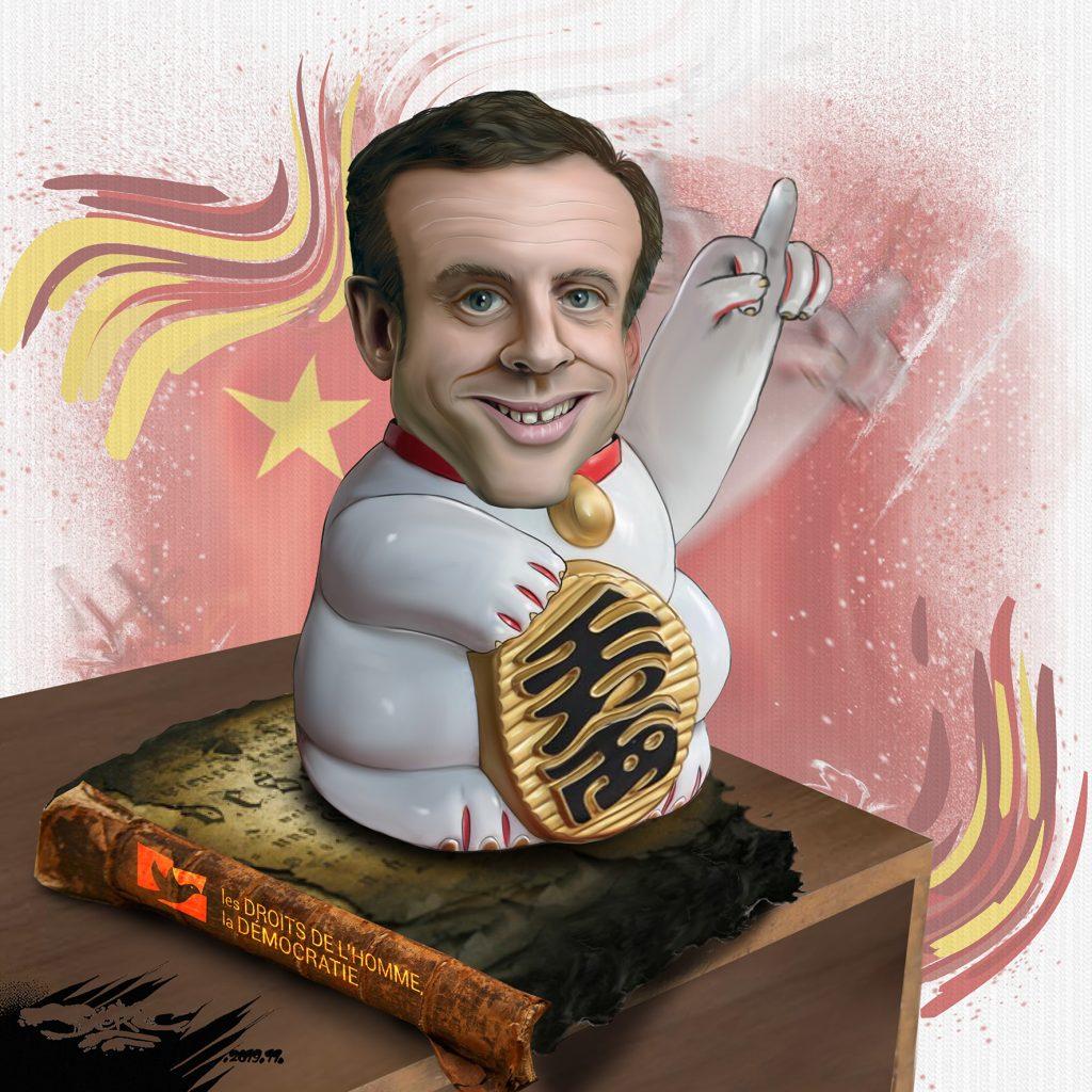 dessin d'actualité humoristique de Jerc sur le voyage en Chine d'Emmanuel Macron