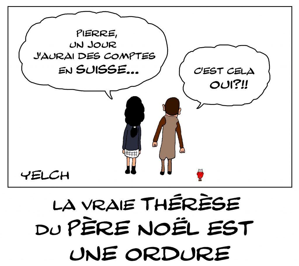 dessin de Yelch sur les comptes en Suisse cachés d'Anémone