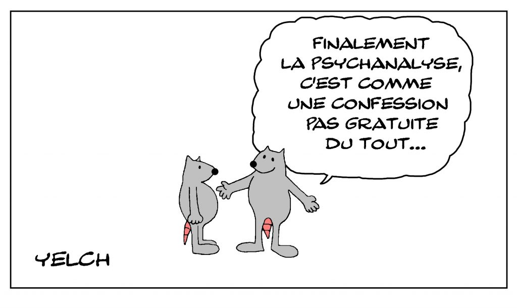 dessin de Yelch sur la psychanalyse et la confession