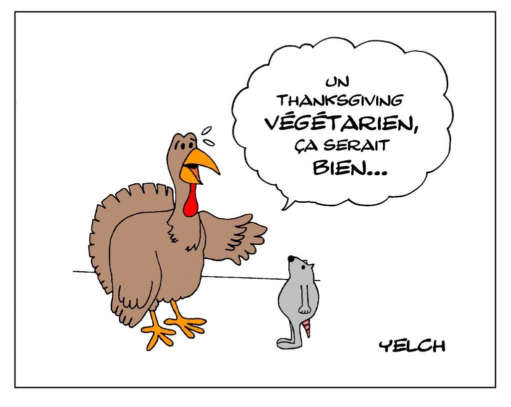 dessin de Yelch sur les dindes de Noël