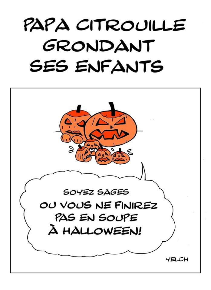 dessin de Yelch sur les citrouilles d'Halloween et la soupe aux citrouilles d'Halloween