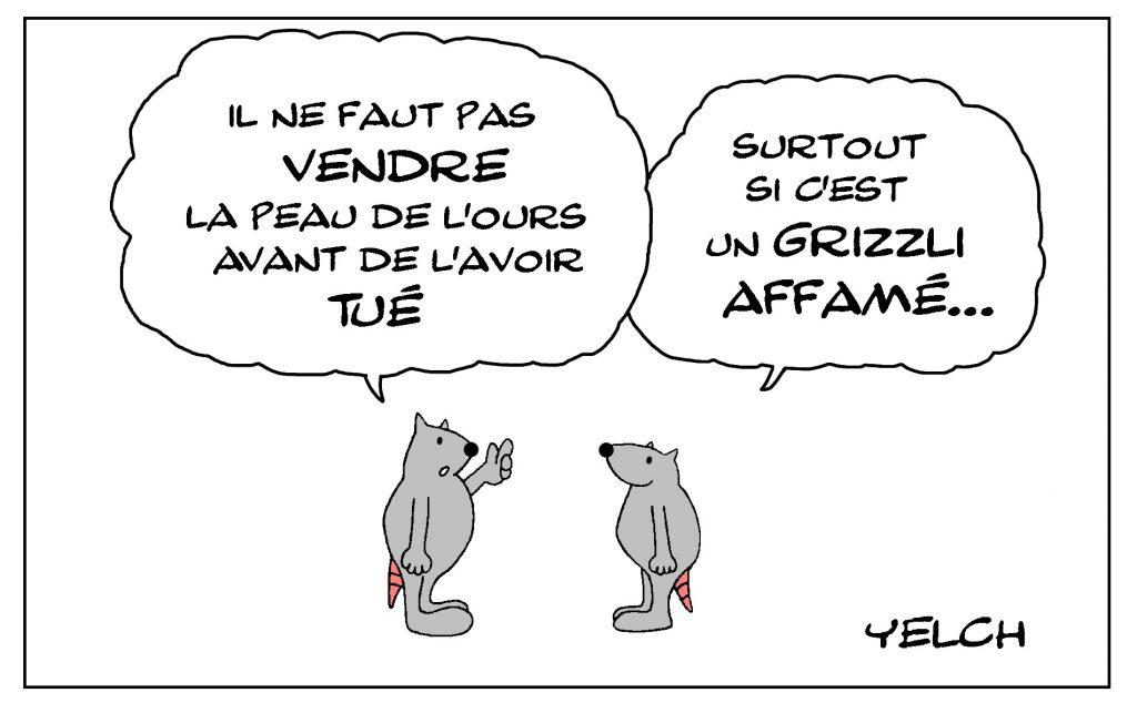 dessin de Yelch dessin de Yelch sur la peau de l'ours et les grizzlis