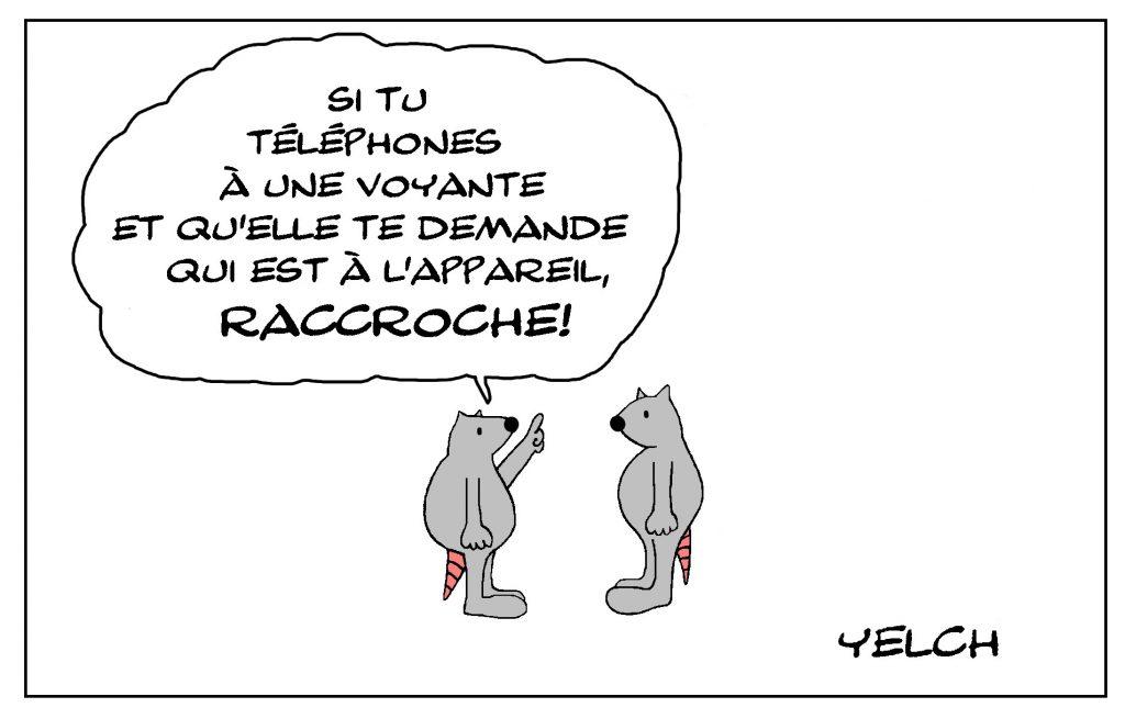 dessin de Yelch sur la voyance par téléphone