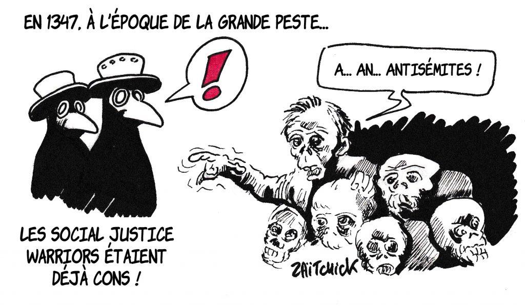 Dessin de Zaïtchick sur un Social Justice Warrior pestiféré qui traite les docteurs de peste d'antisémites à cause de leur masque