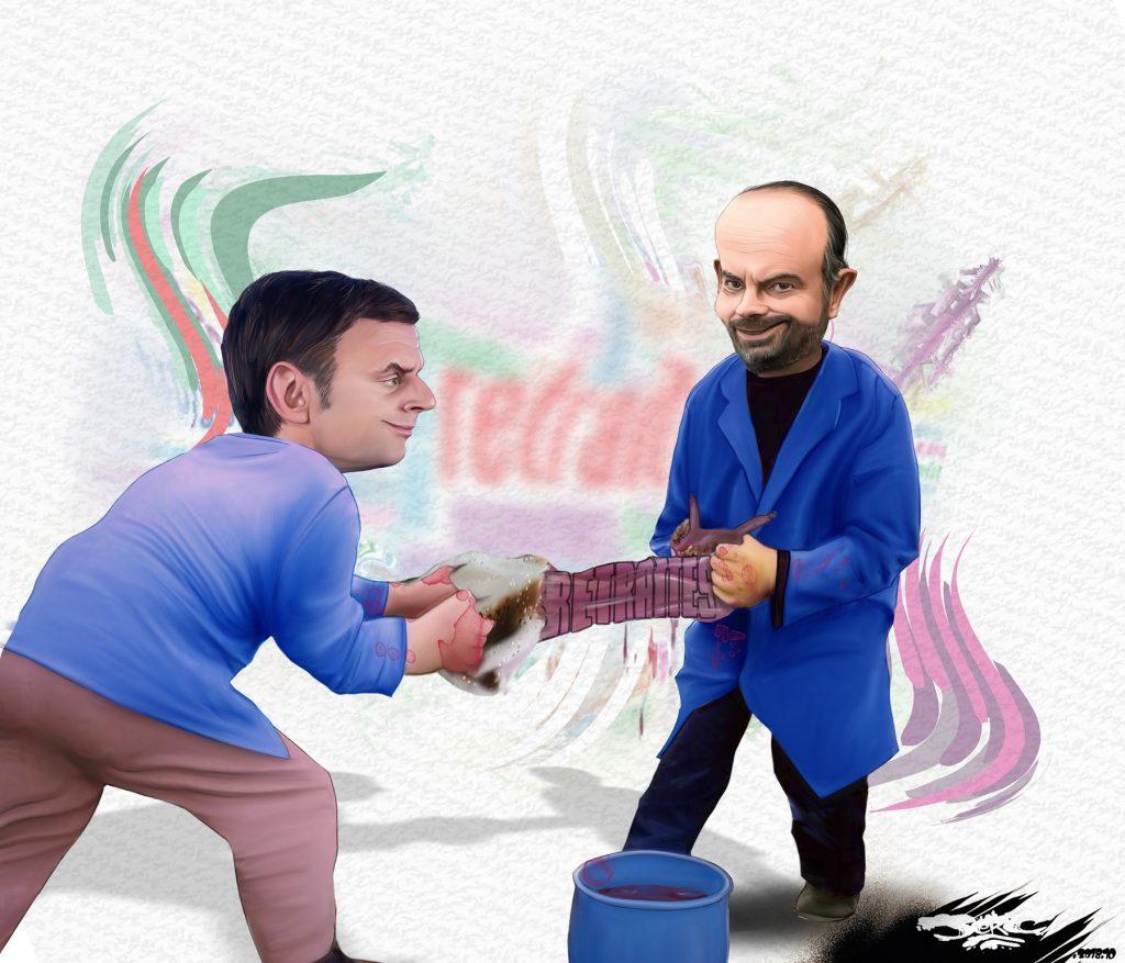 dessin d'actualité humoristique de Jerc sur Emmanuel Macron, Édouard Philippe et la réforme des retraites