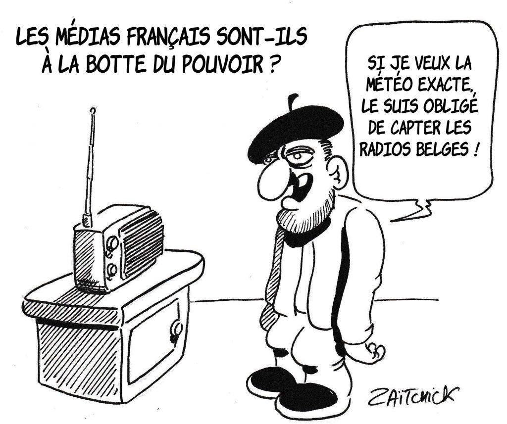 Dessin de Zaïtchick sur un Français moyen qui écoute la radio