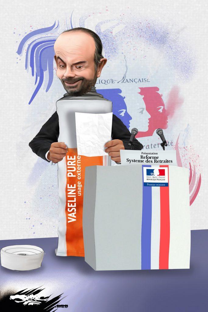 dessin d'actualité humoristique de Jerc sur la présentation de la réforme des retraites par Édouard Philippe