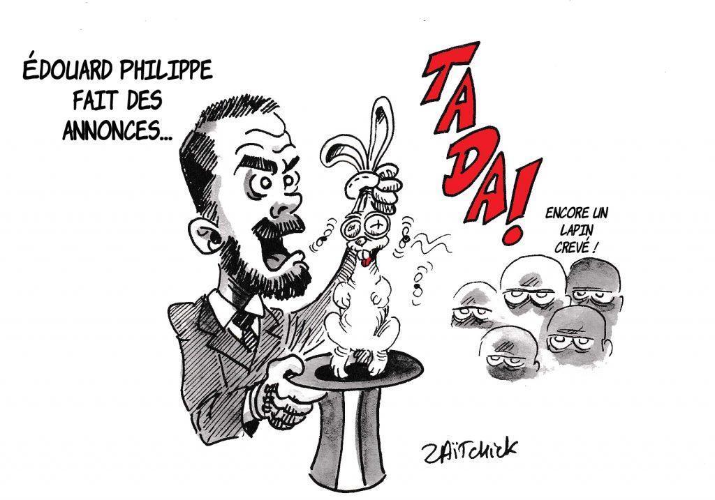 Dessin de Zaïtchick sur Édouard Philippe exposant la réforme des retraites en magicien qui tire un lapin crevé de son chapeau