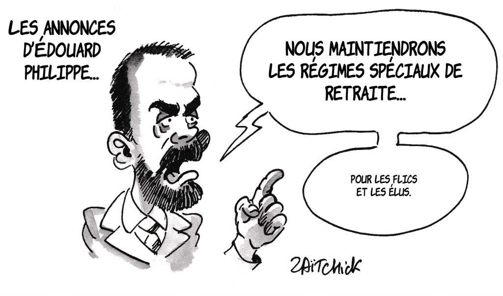 dessin de Zaïtchick sur Édouard Philippe qui fait des annonces sur la réforme des retraites