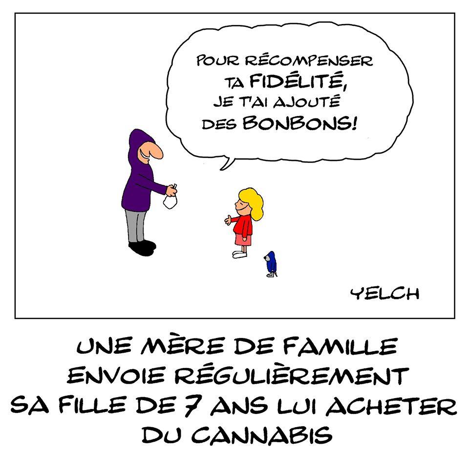dessin de Yelch sur la mère de famille qui envoyait sa fille de 7 ans lui acheter du cannabis