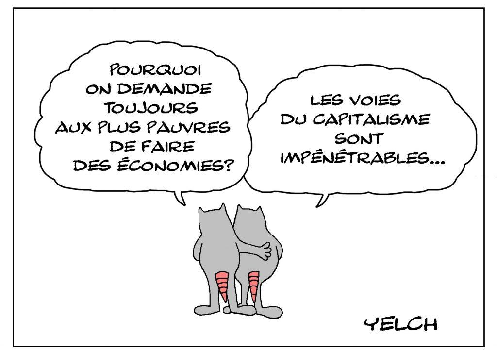 dessin de Yelch sur le capitalisme, les économies et la pauvreté