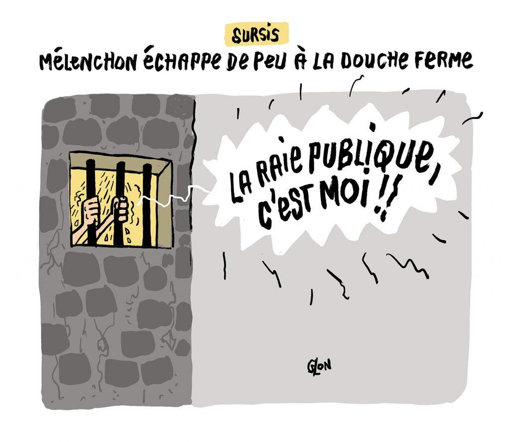 dessin humoristique de Glon sur la condamnation de Jean-Luc Mélenchon pour rébellion lors des perquisitions