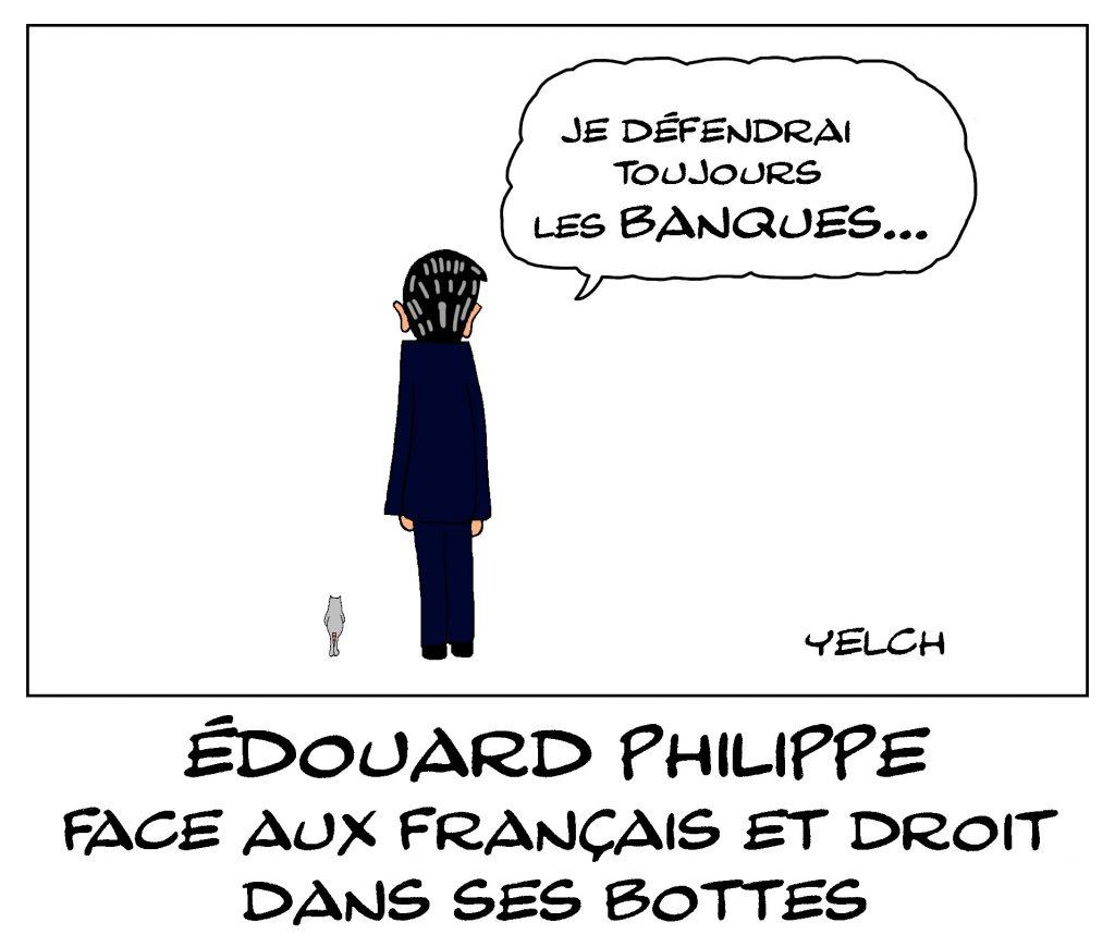 dessin de Yelch sur l'allocution d'Édouard Philippe pour défendre la réforme des retraites
