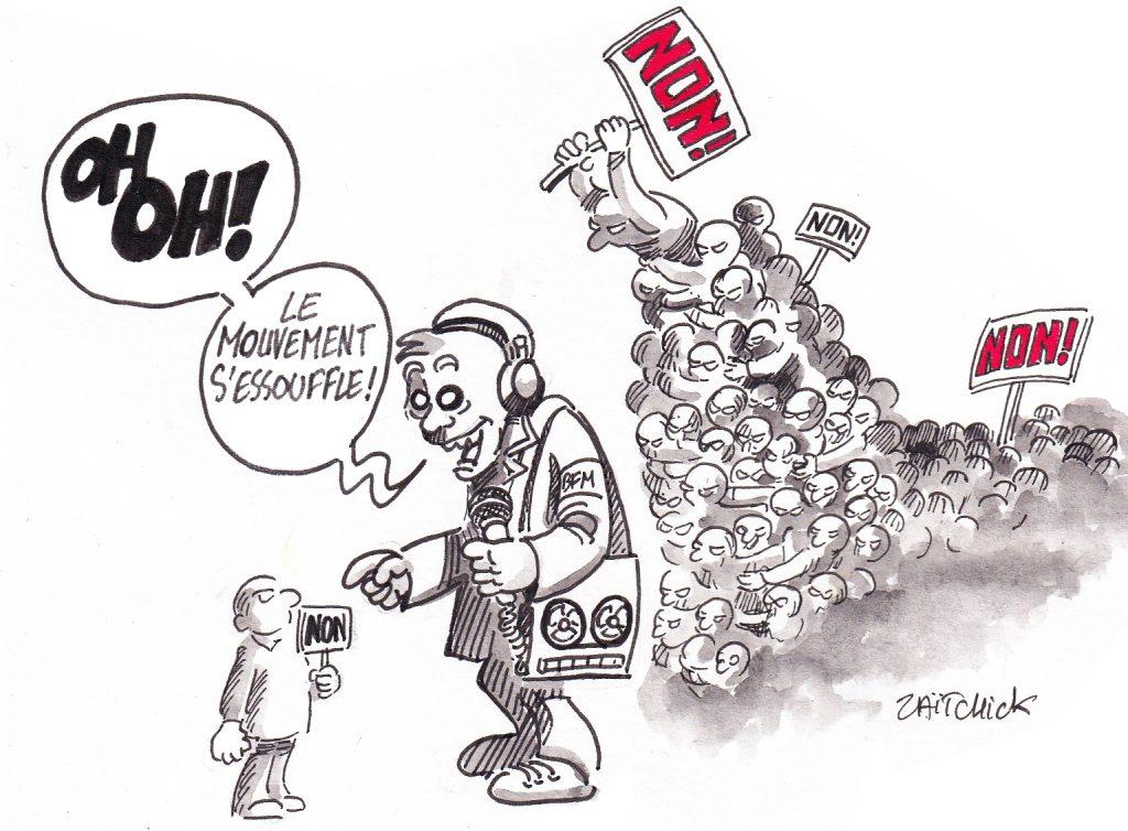 dessin de Zaïtchick sur un journaliste de BFMTV qui commente le mouvement social