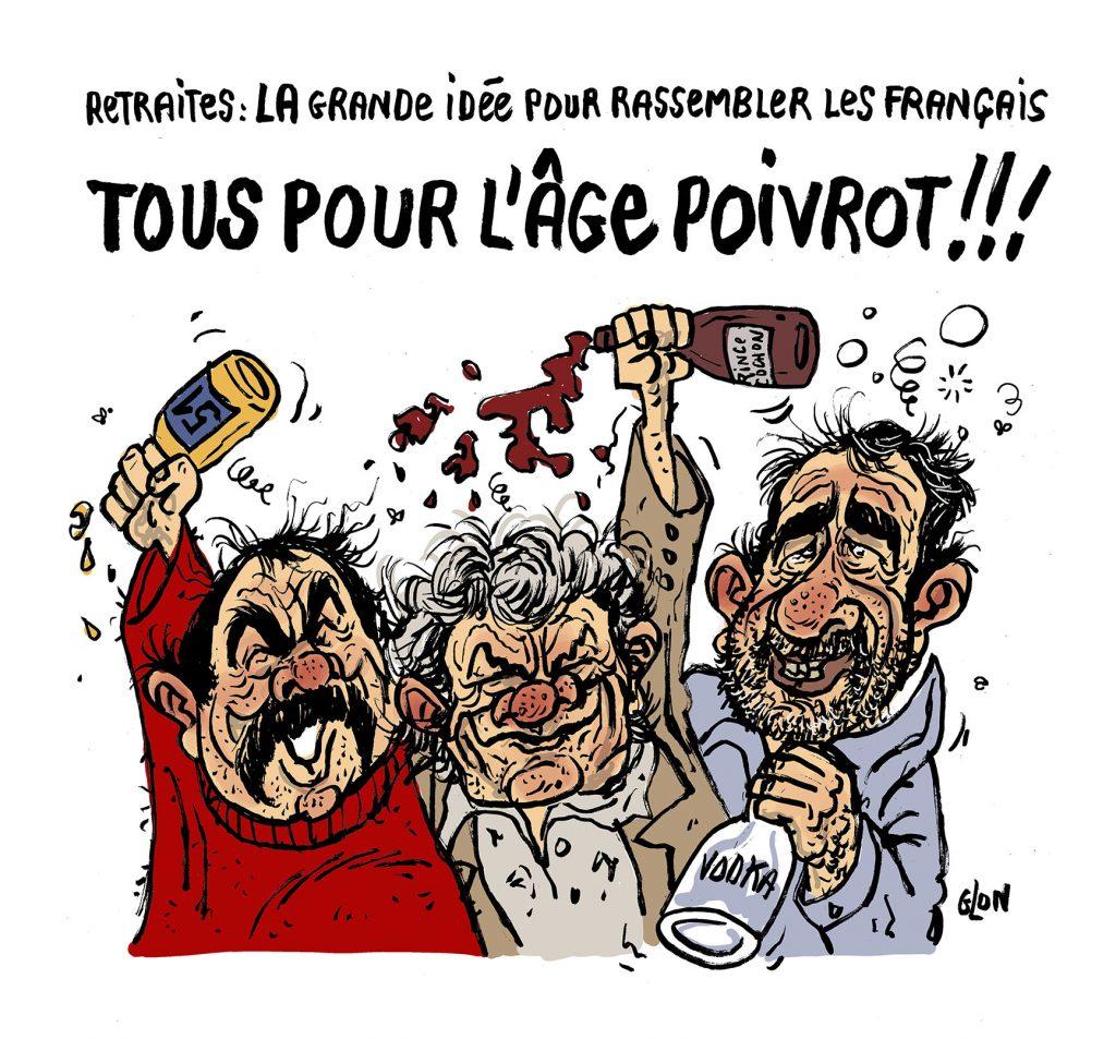 dessin humoristique de Glon sur l'âge pivot de la réforme des retraites