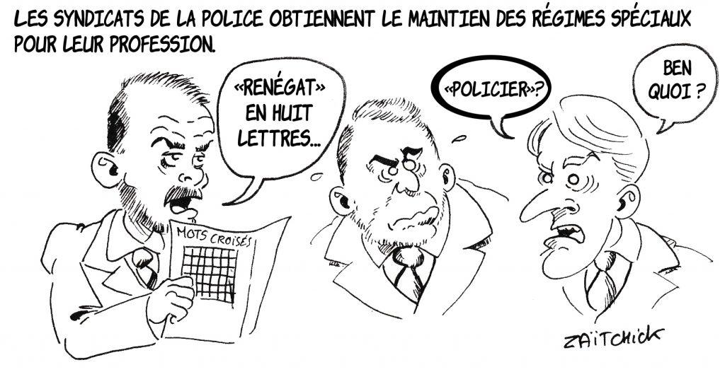 Dessin de Zaïtchick sur Édouard Philippe qui fait des mots croisés avec Christophe Castaner et Emmanuel Macron