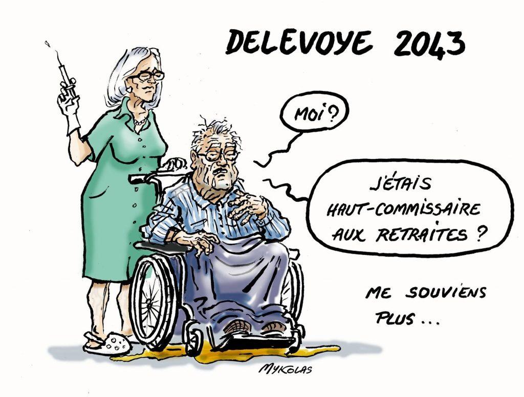 dessin d'actualité humoristique de Mykolas sur les mandats oubliés par Jean-Paul Delevoye dans sa déclaration à la haute autorité
