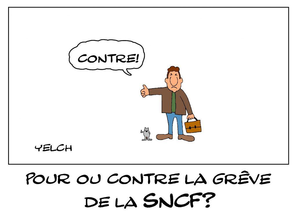 dessin de Yelch sur la grève de la SNCF