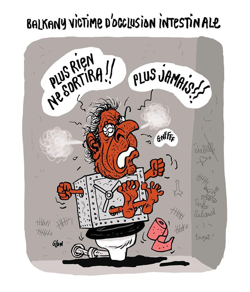 dessin humoristique de Glon sur Patrick Balkany, victime d'occlusion intestinale en prison