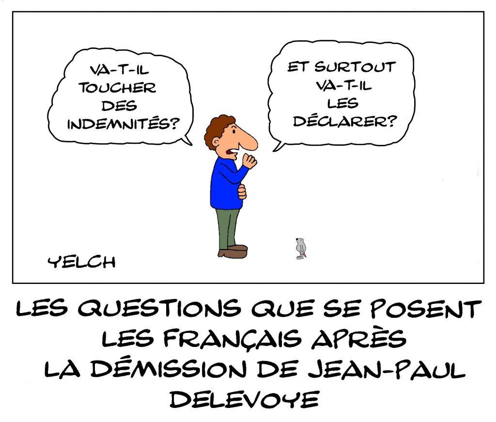 dessin de Yelch sur la démission de Jean-Paul Delevoye