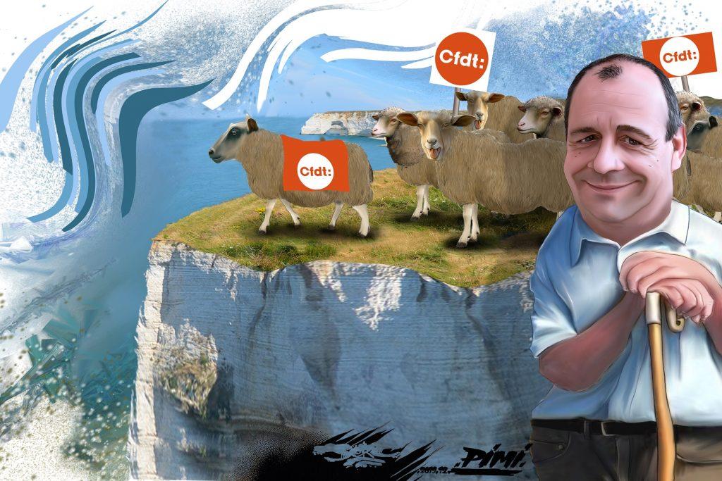 dessin d'actualité humoristique de Jerc sur Laurent Berger et la réforme des retraites