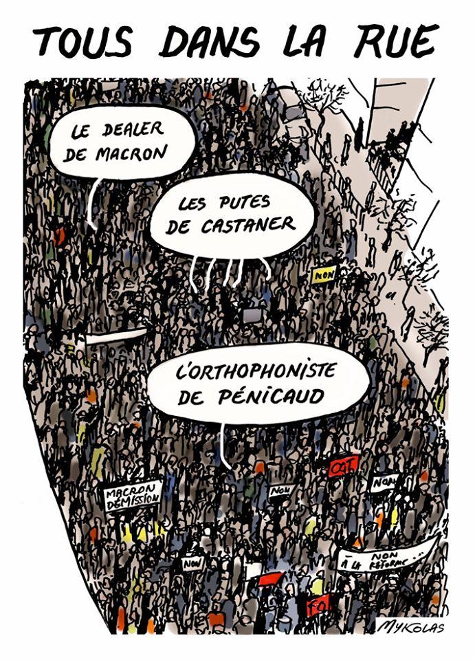 dessin d'actualité humoristique de Mykolas sur les manifestations contre la réforme des retraites