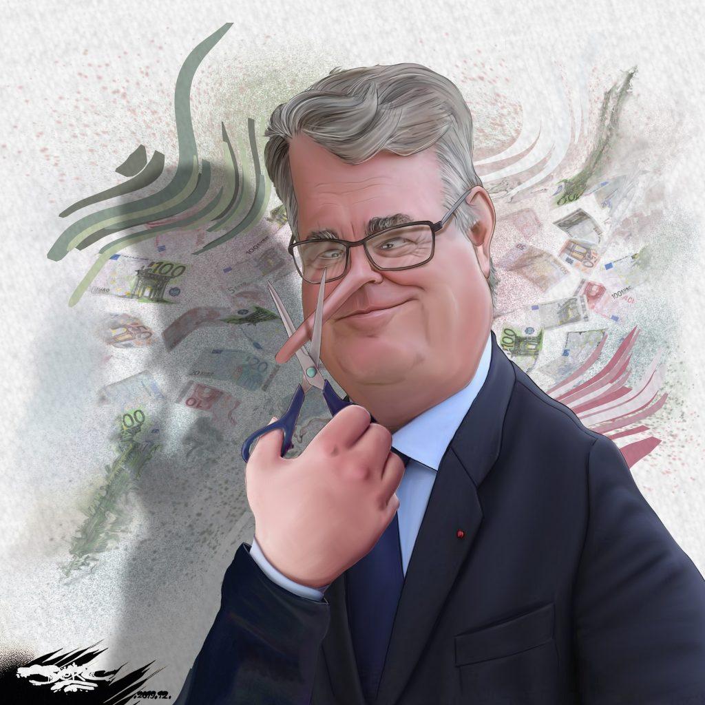 dessin d'actualité humoristique de Jerc sur la démission de Jean-Paul Delevoye