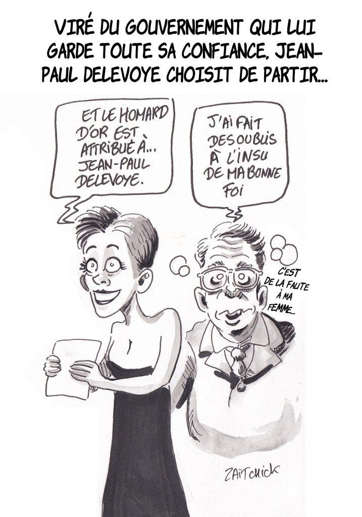 dessin de Zaïtchick sur une animatrice qui remet un Homard d'or à Jean-Paul Delevoye