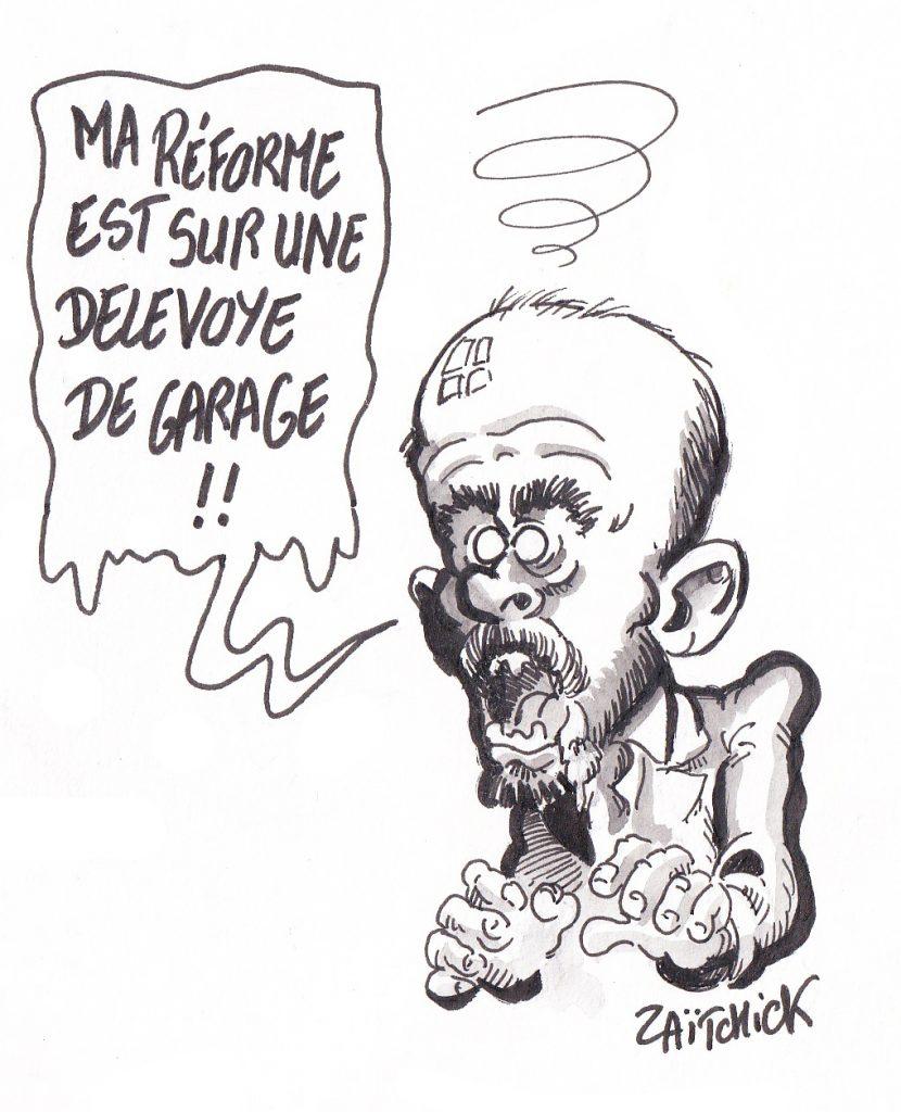 Dessin de Zaïtchick sur Édouard Philippe confronté à la démission de Jean-Paul Delevoye