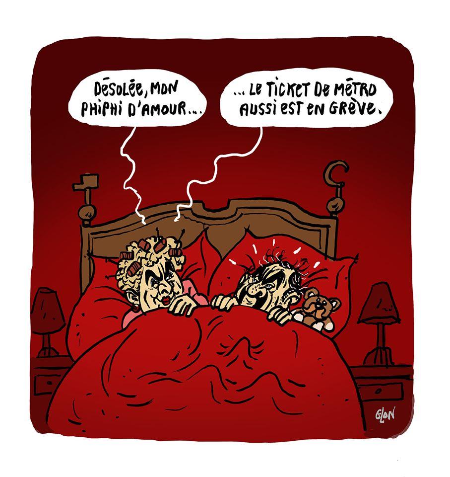 dessin humoristique de Glon sur Philippe Martinez face à la grève générale