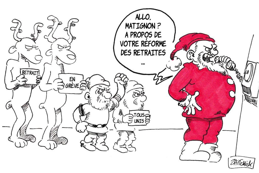 Dessin de Zaïtchick sur le Père Noël face à une grève des rennes et des nains