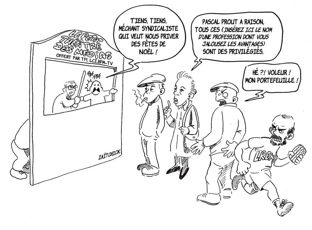 Dessin de Zaïtchick sur le spectacle des guignols qui font l'info qui distraient l'opinion pendant que le pickpocket Édouard Philippe leur fait les poches