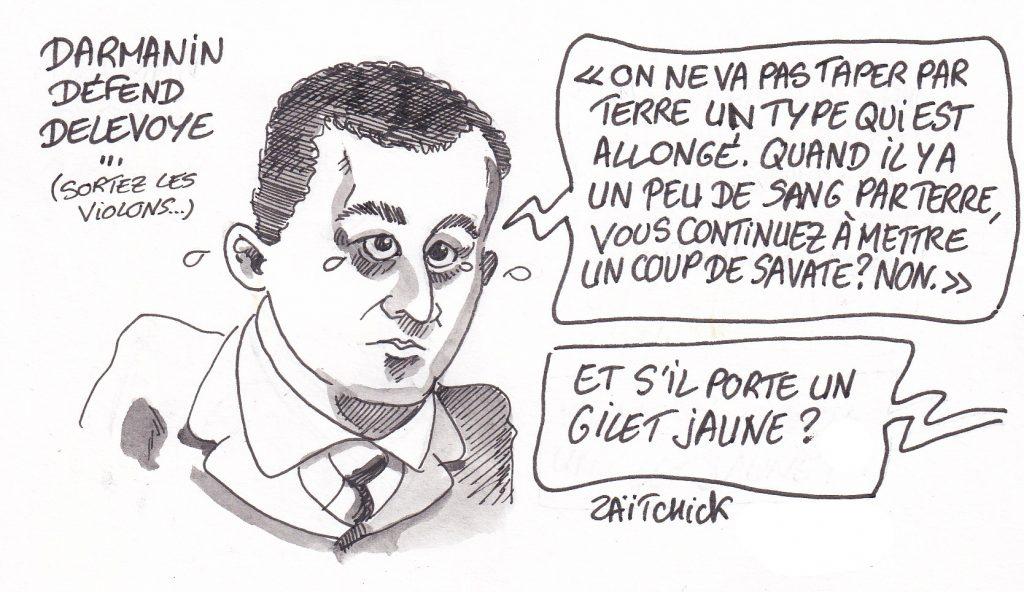 Dessin de Zaïtchick sur Gérald Darmanin qui parle de la démission de Jean-Paul Delevoye