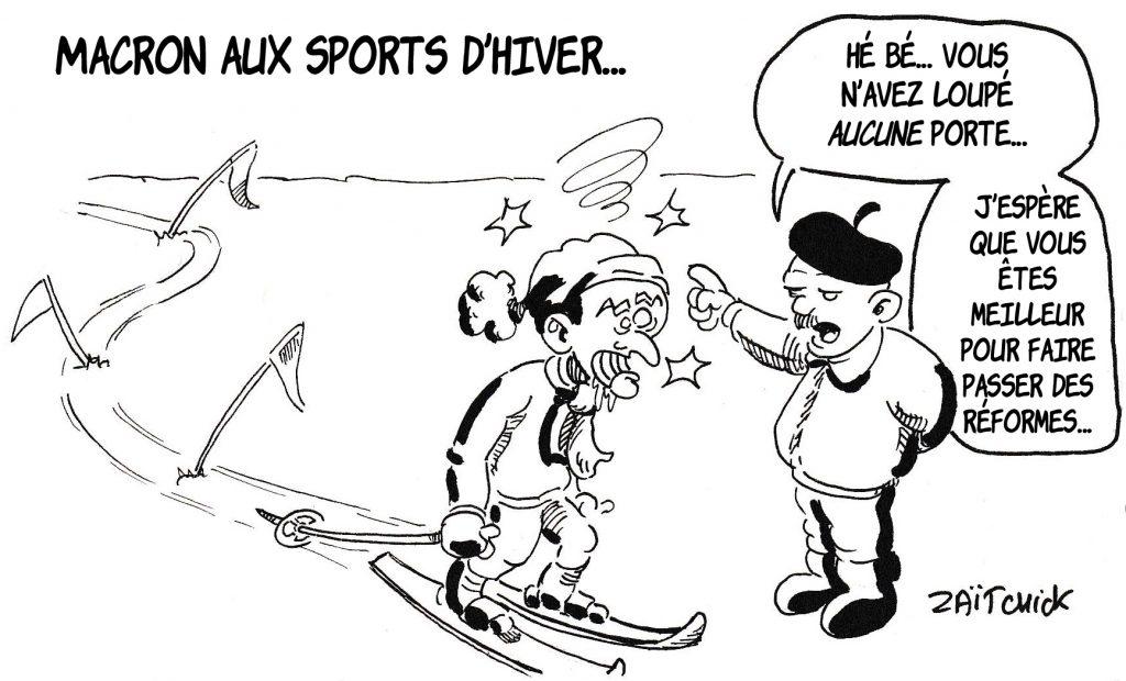 Dessin de Zaïtchick sur Emmanuel Macron aux sports d'hiver