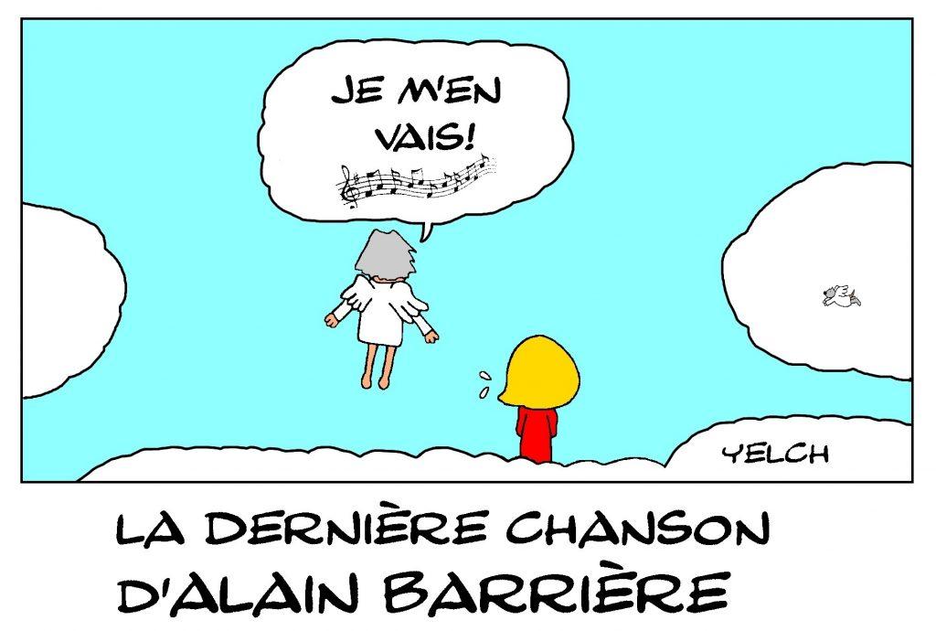 dessin de Yelch sur la disparition d'Alain Barrière