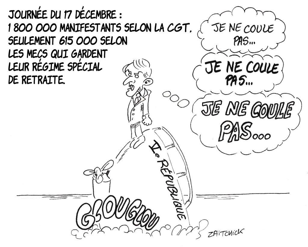 dessin de Zaïtchick sur Emmanuel Macron sur un navire qui coule