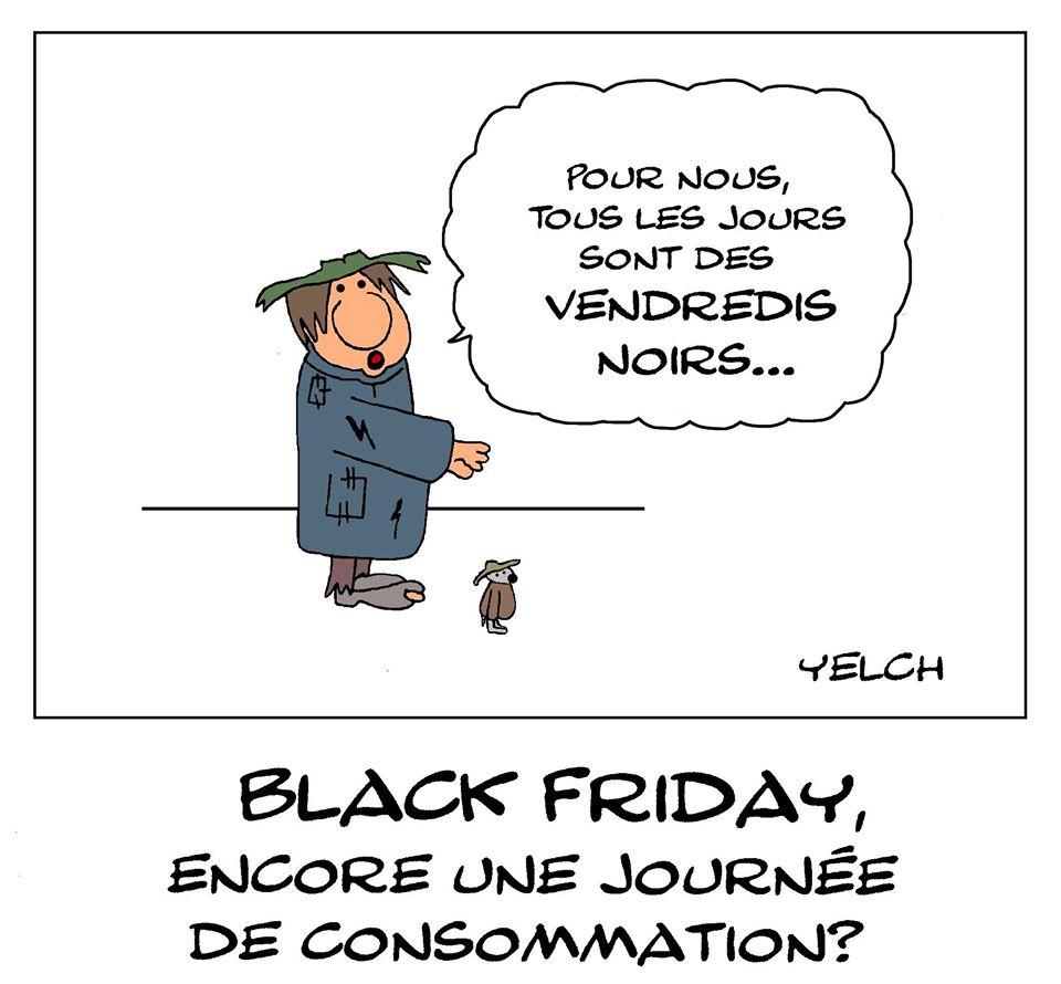 dessin de Yelch sur les pauvres et le Black Friday